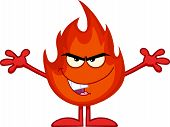 Evil Flame Cartoon Character With Open Arms