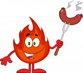 Flame Cartoon Mascot Character With Sausage On Fork