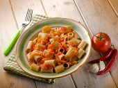 integral pasta with fresh tomatoes and hot chili pepper