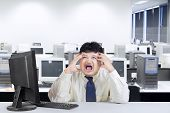 Fat Businessman Shouting In Office