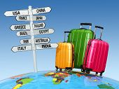 Travel concept. Suitcases and signpost with countries. 3d