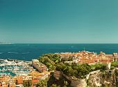 Panoramic View Of Monaco. Vintage Style
