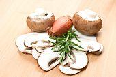 Sliced Mushrooms On A Cutting Board