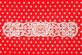Red White Polka Dot Background With Lace