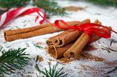 Christmas decoration, cinnamon and twigs Christmas trees