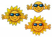 Cartoon smiling sun characters with sunglasses