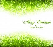 Green winter abstract background. Christmas background with snowflakes. Vector.