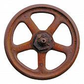 Industrial Valve Wheel And Rusty Stem, Old Aged Weathered Rust Grunge Latch Macro Closeup Isolated