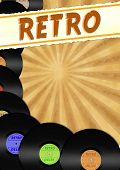 retro stylized flyer with colorful vinyls
