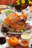 Roasted Turkey On Harvest Table