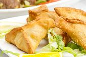 Middle eastern food fatayer stuffed in spinach