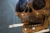 Human skull smoking a cigarette on a black background, Cigarette very dangerous for people