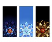 Vertical Banners With Abstract Flowers