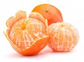 Peeled tangerine or mandarin fruit isolated on white background cutout