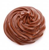 Chocolate cream swirl isolated on white background cutout