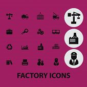 factory icons, illustrations, signs, silhouettes set, vector