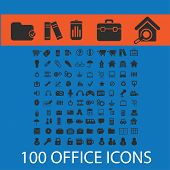 100 black office, documents, icons, illustrations, signs, symbols set, vector