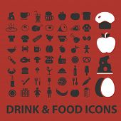 drink, food, restaurant, cafe icons, illustrations, signs, silhouettes set, vector