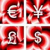 Design Currency Icons Set. Euro, Yen, Pound, Dollar