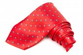 red, checked tie on a white background