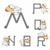 Design Abc With Funny Cartoon Sheep. Letters From M To R