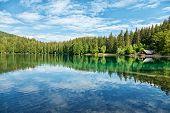 Lake Fusine In The Italian Alps