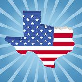 picture of texans  - Texas map flag on blue sunburst illustration - JPG