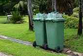 Green Garbage, Trash Bin At Park