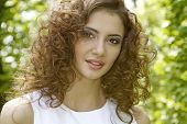 beautiful ant attractive sensuality young adult brunette woman in the garden