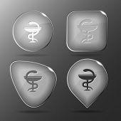 Pharma symbol. Glass buttons. Raster illustration.