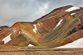Rhyolite mountains. Colorful smooth mountains in the Icelandic reserve Landmannalaugar