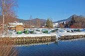 Reversed Rowing Boats At Winter Season, Lake Schliersee, Germany