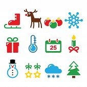 Christmas winter icons set
