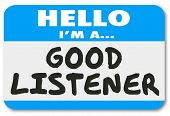 picture of sympathy  - Good Listener words on a name tag sticker to show you are sympathetic - JPG