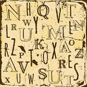 Grunge Background With Hand Drawn English Alphabet Letter