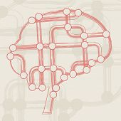 retro circuit board form of brain