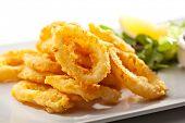 Deep Fried Calamari Rings. Selective Focus