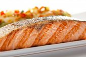 Salmon BBQ Steak with Cannelloni