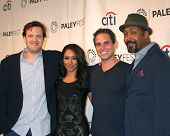 LOS ANGELES - SEP 6:  Andrew Kreisberg, Candice Patton, Greg Berlanti, Jesse L. Martin at the PaleyFest 2014 Fall TV Previews - The CW  at Paley Center on September 6, 2014 in Beverly Hills, CA