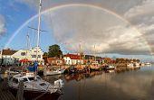 Rainbow Over Harbor In Zoutkamp, Groningen