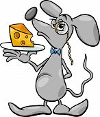 Mouse With Cheese Cartoon Illustration