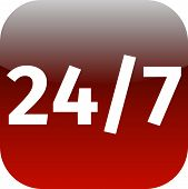 24/7 Nonstop Time Red Icon