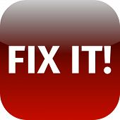 A Red Icon With The Words Fix It