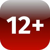 Restriction On Age 12+ - Red And White Icon