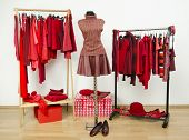 Wardrobe with red clothes arranged on hangers and an outfit on a mannequin.
