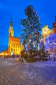 GDANSK, POLAND - 14 JANUARY 2014: Huge Christmas tree on the Long Lane in Gdansk at night. Baroque a