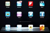 Icons of most popular applications on Apple iPad