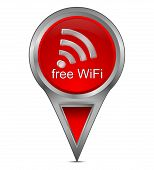 map pointer with free WiFi symbol