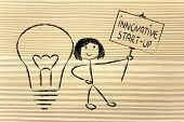 Girl With Ideas And Knowledge Promoting An Innovative Start-up