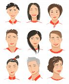 Men and Women Hand Drawn Face Avatars Set